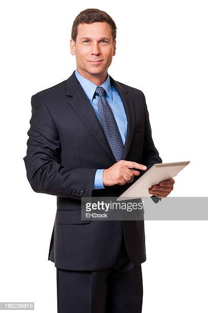 実業家デジタルタブレットで分離白背景