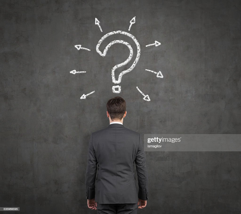 businessman with drawing question mark : Stock Photo