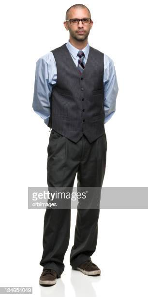 Businessman with glasses and casual shoes standing