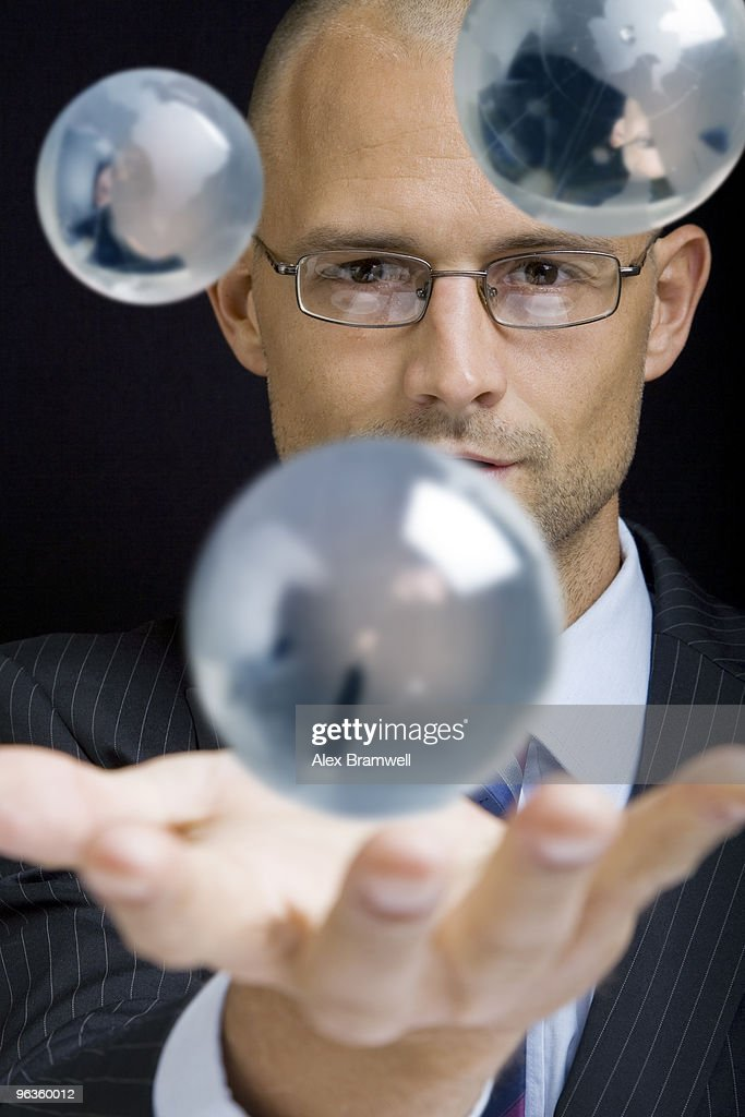 Businessman with Globes : Foto de stock
