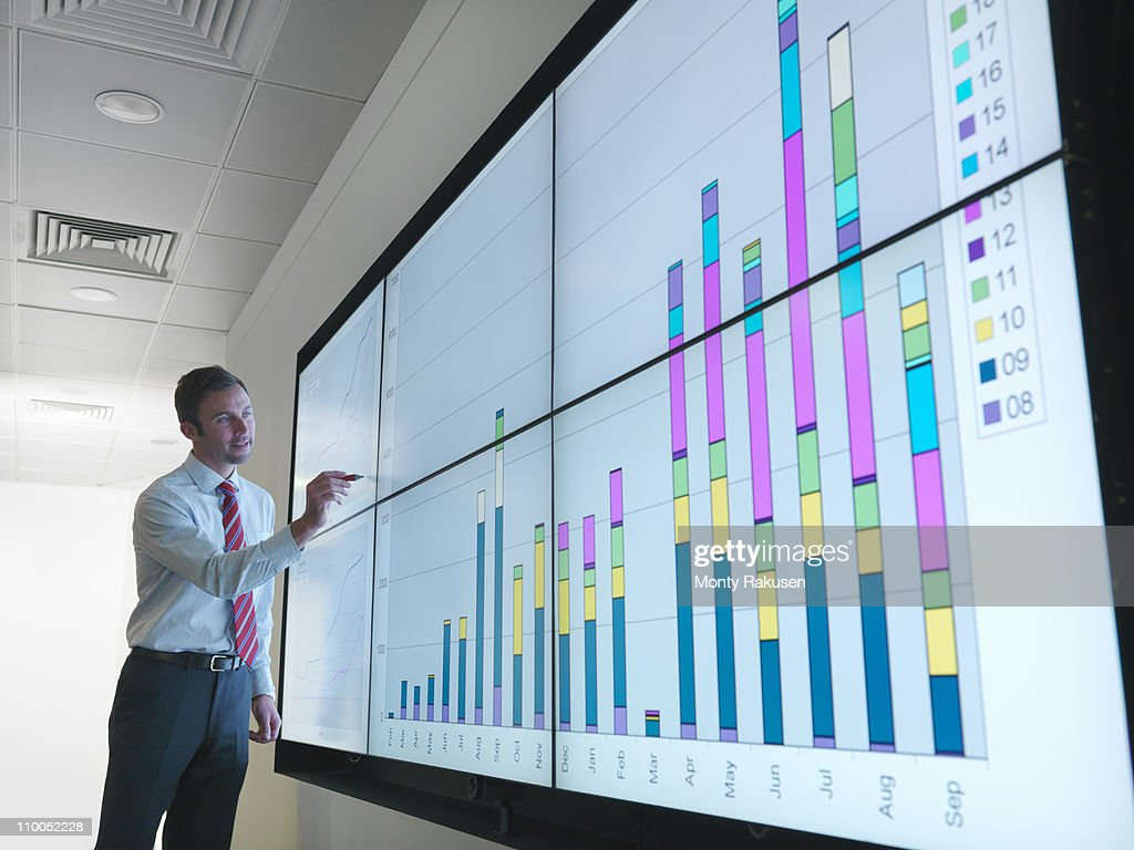 Businessman with graphs on screen : Stock Photo