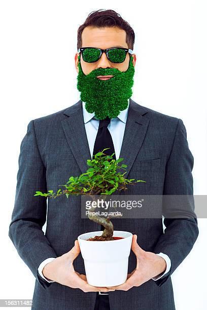 Homme d'affaires avec green attitude