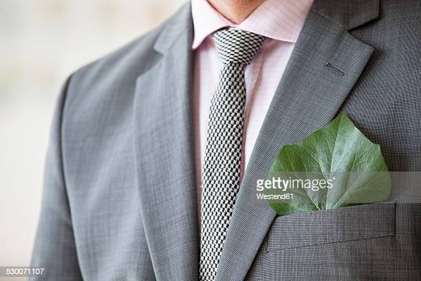 businessman with green leaf in his jacket pocket - responsible business stock photos and pictures