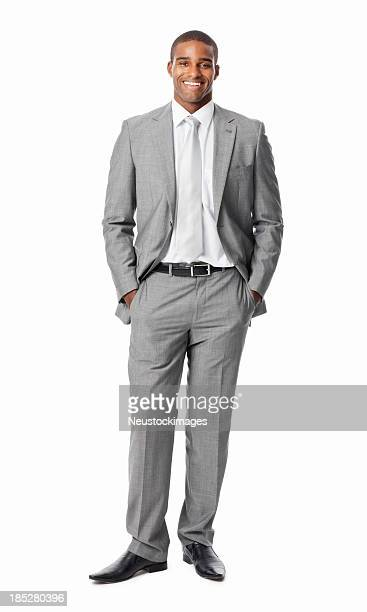 businessman with hands in pockets - isolated - most handsome black men stock photos and pictures