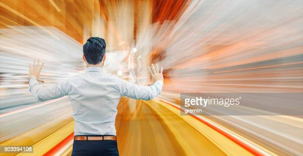 businessman with high speed data flow - data flow stock photos and pictures