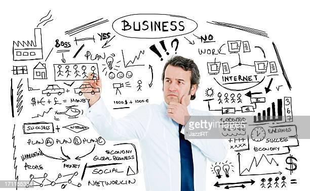ビジネスマンが書面で何かのガラス製マーカー writeboard