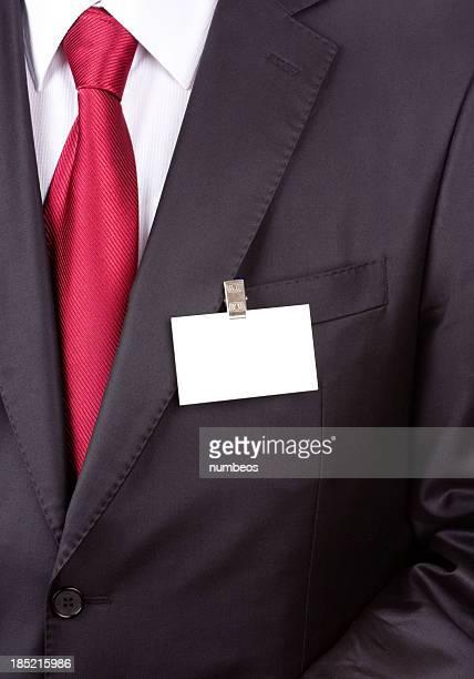 ビジネスマンがネームタグ