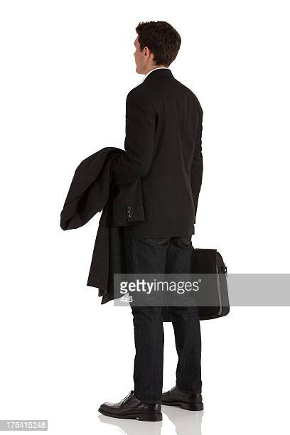 Businessman with overcoat and briefcase