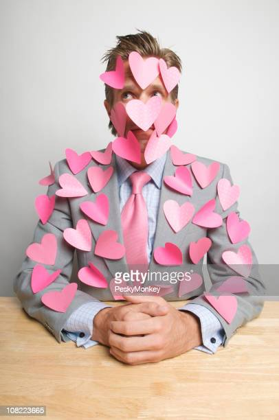 Businessman with Pink Hearts All Over Him