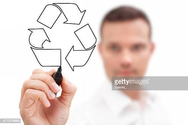ビジネスマンにリサイクルシンボル