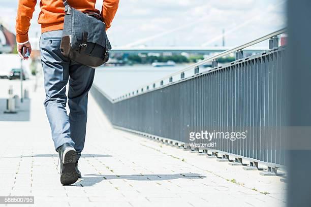 Businessman with shoulder bag walking, rear view