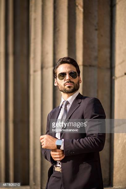 Businessman with smart watch