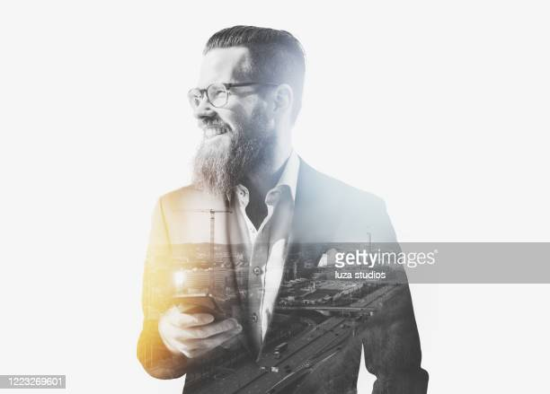 businessman with smartphone double exposure concept - multiple exposure stock pictures, royalty-free photos & images
