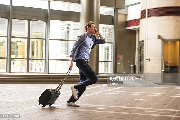 Businessman with Suitcase Running, Kyoto, Japan