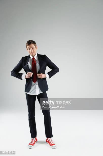 Businessman with tight fitting suit