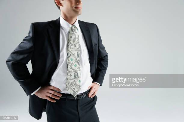 Businessman with US currency necktie