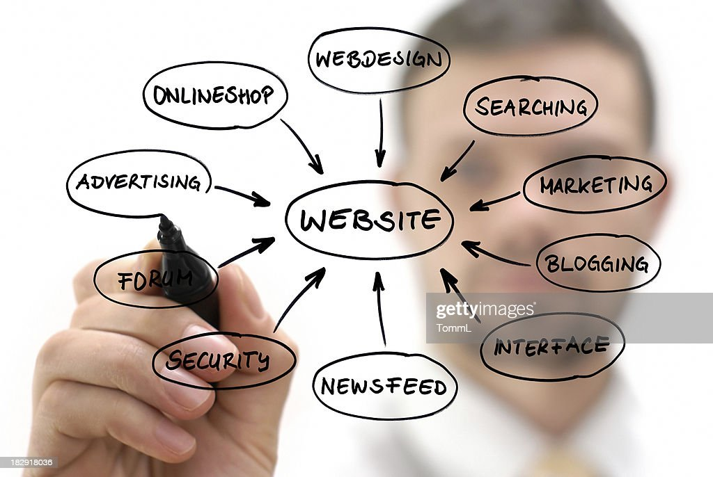 Businessman with website diagram : Stock Photo