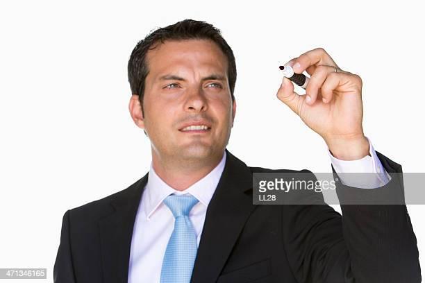 ビジネスマン、ホワイトボードペン