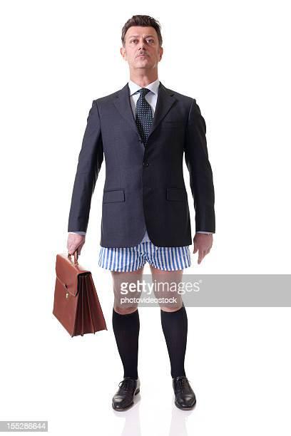 empresário sem calças, isolado a branco - homem de cueca imagens e fotografias de stock