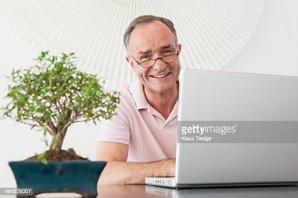 businessman working at desk in office - bonsai tree stock pictures, royalty-free photos & images