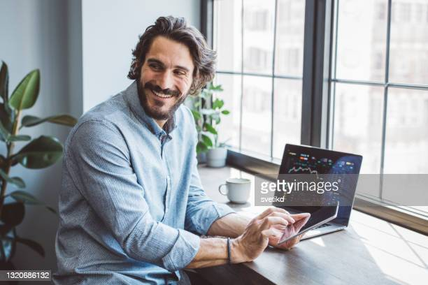 businessman working from home office - stock trader stock pictures, royalty-free photos & images
