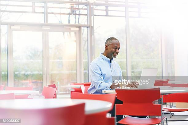 Businessman working in sustainable modern office.