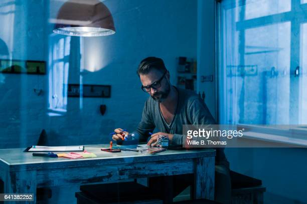 Businessman working late in his Office
