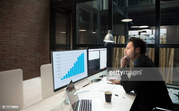 Businessman working late, success graph