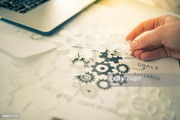 Businessman working on  a business plan
