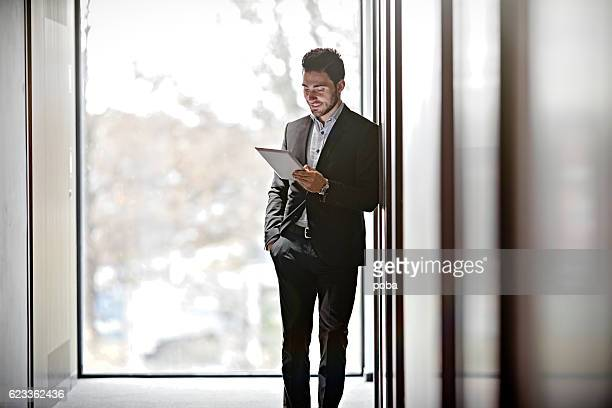 Businessman working on a business trip at the hotel