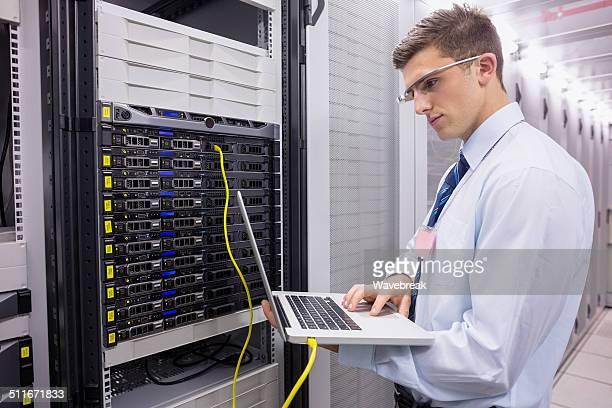 Businessman working on a server