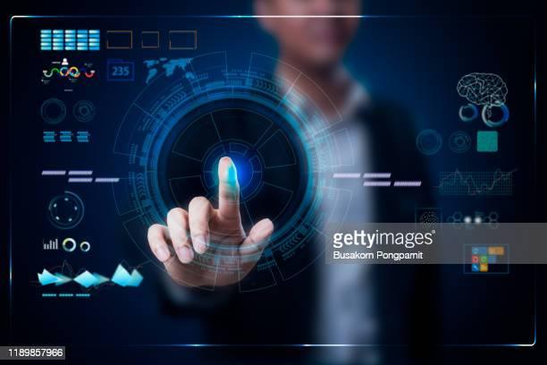 businessman working on a virtual digital data technology concept design - berührungsbildschirm stock-fotos und bilder