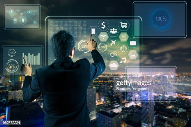 businessman working on a virtual digital data technology concept design - gui bildbanksfoton och bilder