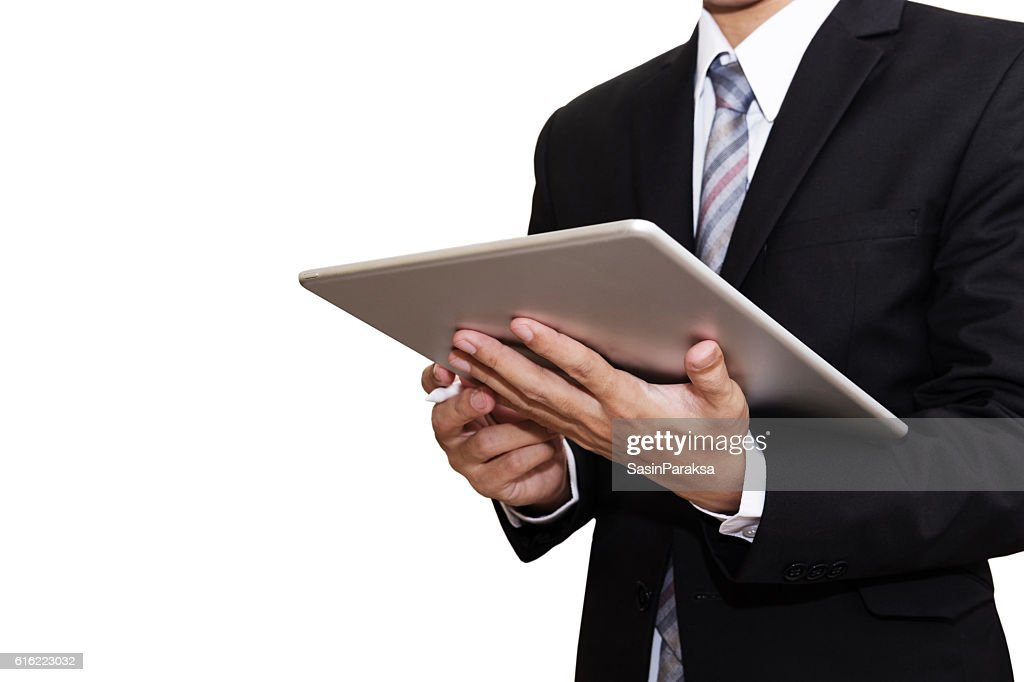 Businessman Working on Digital Tablet, isolated on white background : Stock Photo