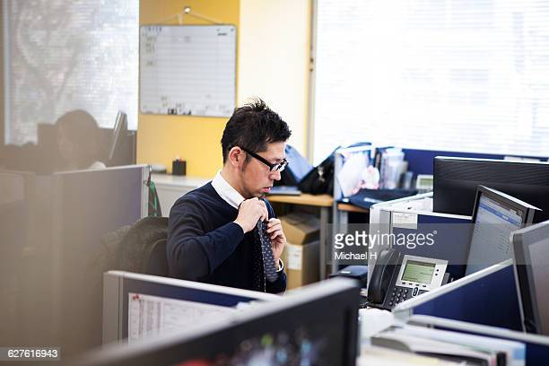 Businessman working on the desk in office