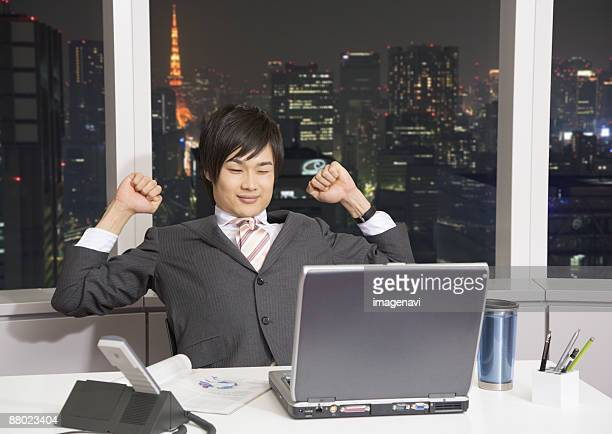 Businessman working overtime