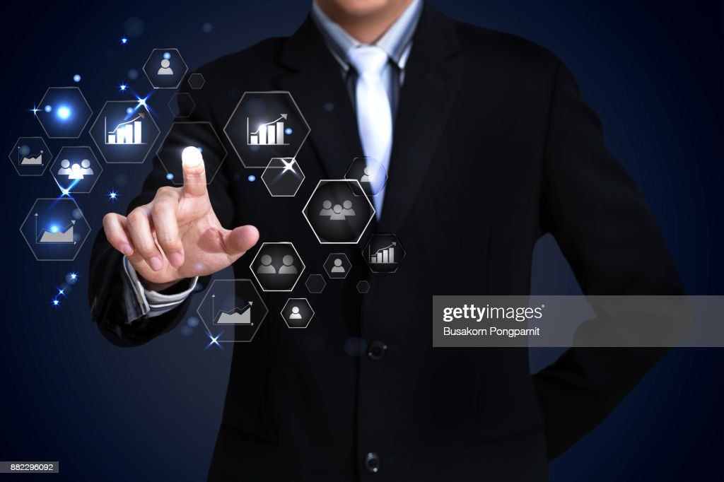 Businessman working with digital virtual screen social network : Stock Photo