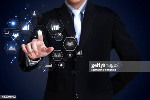 Businessman working with digital virtual screen social network
