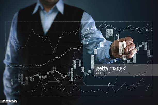 Businessman working with financial chart