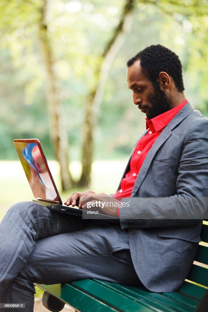 Geschäftsmann, arbeiten mit Laptop im Park : Stock-Foto