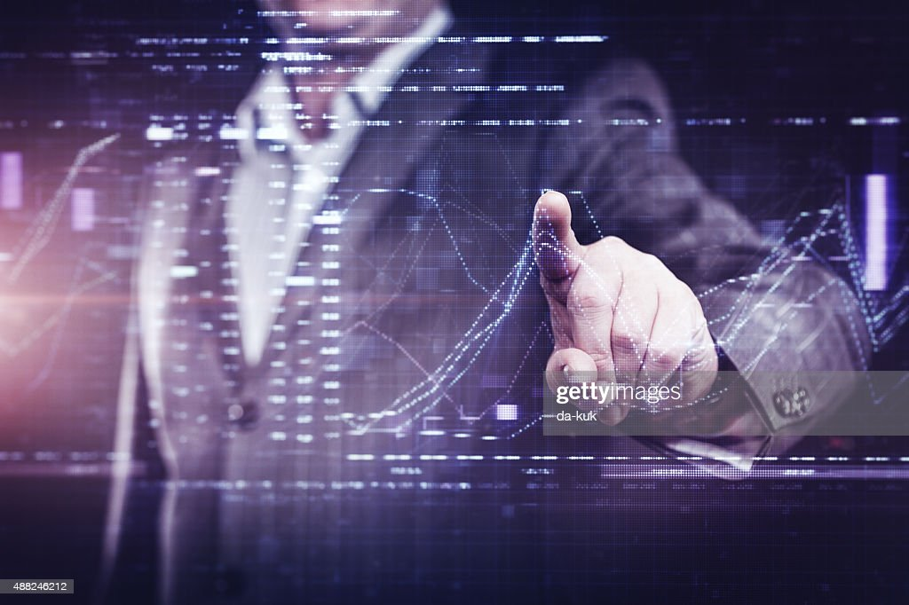 Businessman working with modern computer : Stock Photo
