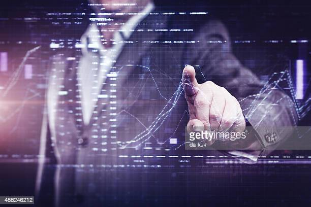 businessman working with modern computer - hud graphical user interface stock photos and pictures