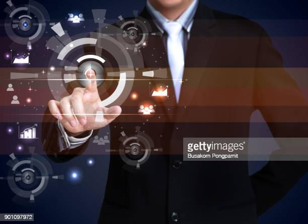 businessman working with modern virtual technology - interattività foto e immagini stock