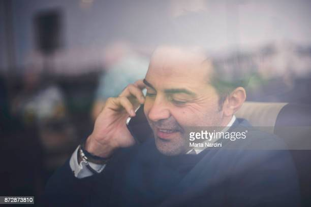 Businessman working with telephone