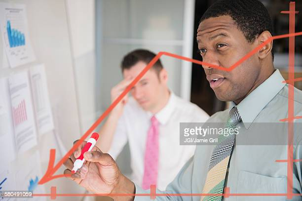 Businessman writing graph on glass wall in office