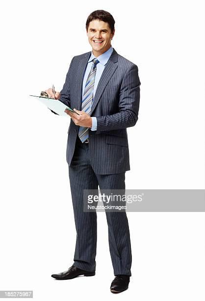Empresário escrevendo sobre uma Prancheta-isolada