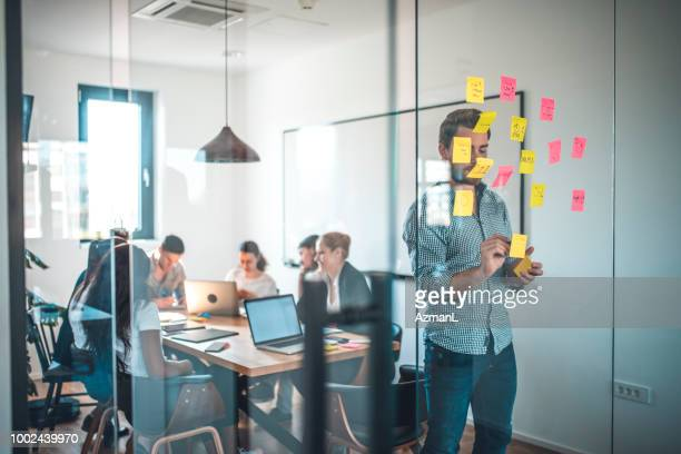 Businessman writing on adhesive note on glass wall
