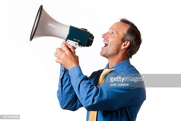 Businessman Yelling into Megaphone-Good News