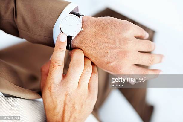 Businessman's hand with wrist watch