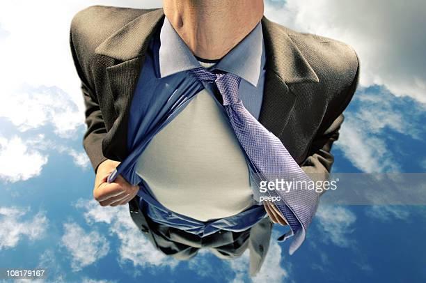 ejecutivo/superhéroe volando en el cielo - decapitado fotografías e imágenes de stock